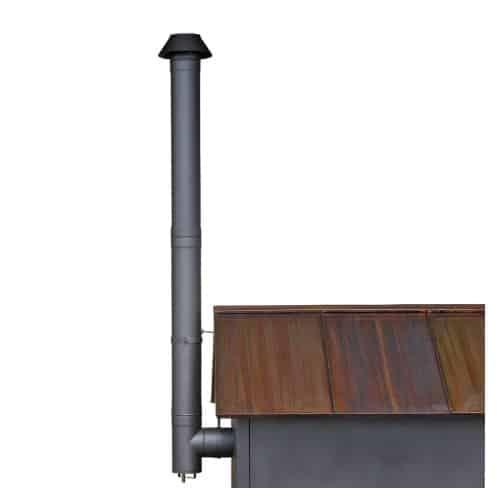 Rauchrohrabzug zu Holzbackofen schwarz lackiert mit Enddüse