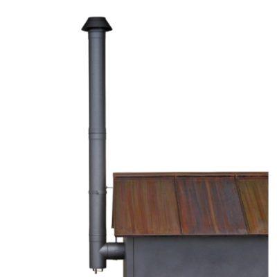 Rauchrohrabzug Set Edelstahl schwarz lackiert mit Enddüse