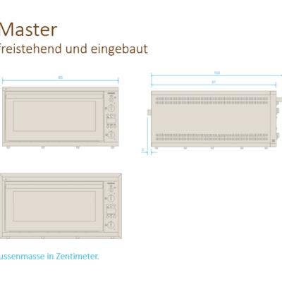 Zeichnung Elektro-Steinbackofen Master freistehend_eingebaut